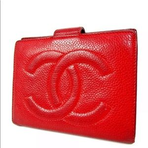 Authentic Chanel Red Caviar Skin Leather Wallet